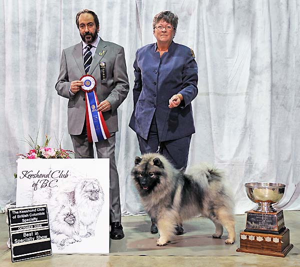 Truffle went to the Keeshond Club of Canada Nationals 2008 and BC Keeshond Club Regional Specialty. She won Best in  Specialty for the Regional.